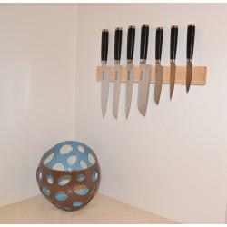 Knivmagnet i askträ 7 knivar 45 cm